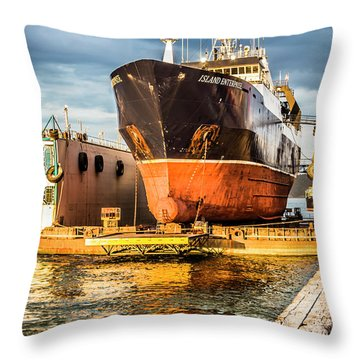 Golden Glow On Dry Dock Throw Pillow