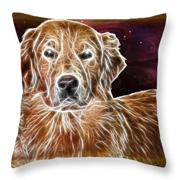 Throw Pillow featuring the photograph Golden Glowing Retriever by EricaMaxine  Price