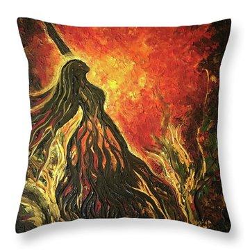 Golden Goddess Throw Pillow
