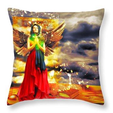 Golden Goddess Of Gratitude Throw Pillow