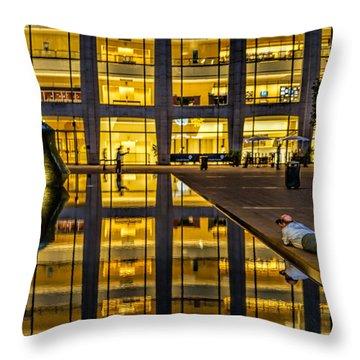 Golden Grid Throw Pillow