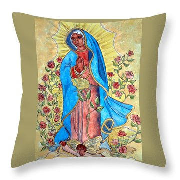 Golden Guadalupe Throw Pillow