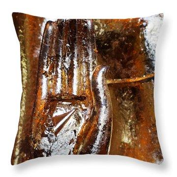 Golden Hand Throw Pillow by Julia Ivanovna Willhite