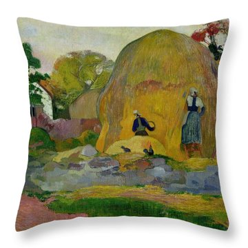 Golden Harvest Throw Pillow by Paul Gauguin