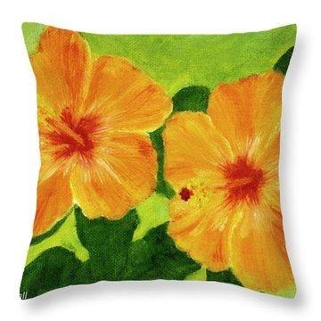 Golden Hawaii Hibiscus Flower #25 Throw Pillow by Donald k Hall