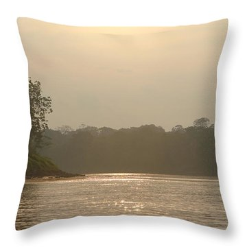 Golden Haze Covering The Amazon River Throw Pillow