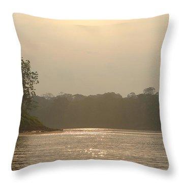 Golden Haze Covering The Amazon River Throw Pillow
