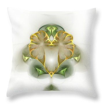 Throw Pillow featuring the digital art Golden Heart by Richard Ortolano