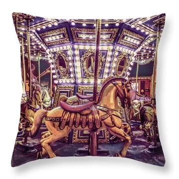Golden Hobby Horse Throw Pillow