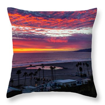 Golden Horizon At Sunset -  Panorama Throw Pillow