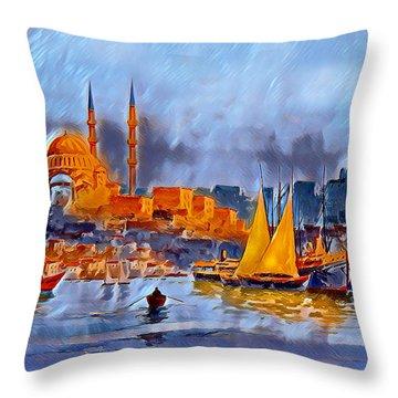 Throw Pillow featuring the digital art Golden Horn Of Istanbul by Pennie McCracken