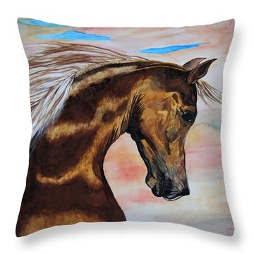 Golden Horse Throw Pillow by Melita Safran