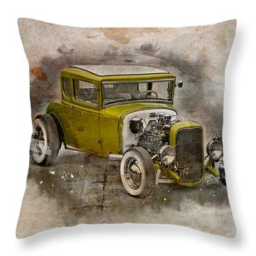 Throw Pillow featuring the photograph Golden Hot Rod by Joel Witmeyer