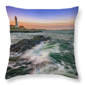 Golden Hour At Portland Head Light Throw Pillow