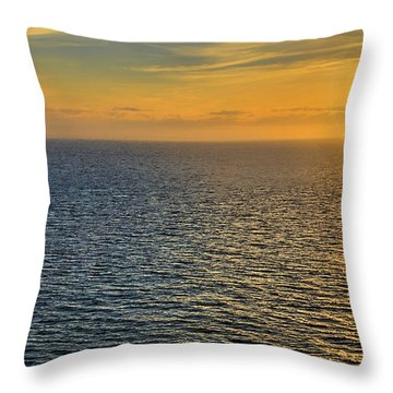 Golden Hour At Sea Throw Pillow by Lewis Mann