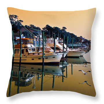Golden Hour At The Marshwalk Throw Pillow