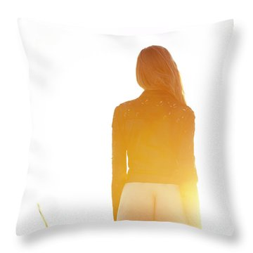 Golden Hour Girl Throw Pillow