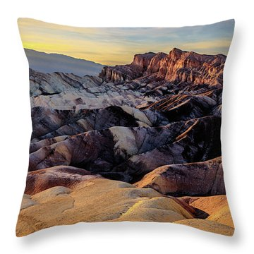 Golden Hour Light On Zabriskie Point Throw Pillow