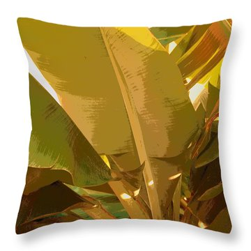 Golden Hour Plant Throw Pillow