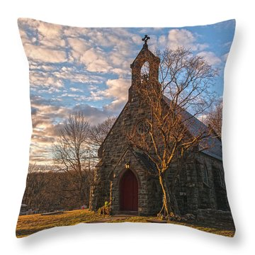 Golden Hour Prayer Service Throw Pillow