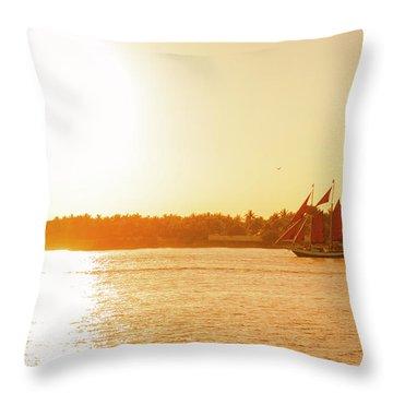 Golden Hour Sailing Ship Throw Pillow