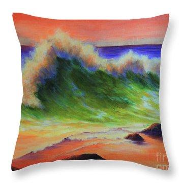 Golden Hour Sea Throw Pillow