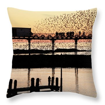 Golden Hour Starlings In Aberystwyth Throw Pillow