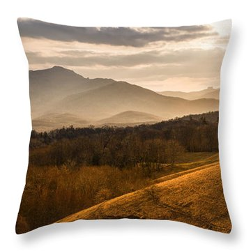 Grandfather Mountain Sunset - Moses Cone Blue Ridge Parkway Throw Pillow