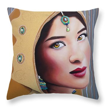 Golden Indian Bride Throw Pillow