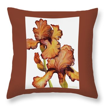 Golden Iris Throw Pillow by Kerri Ligatich