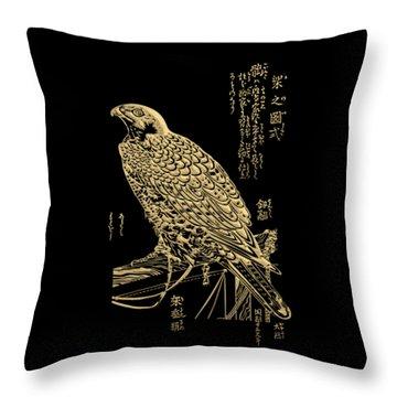 Golden Japanese Peregrine Falcon On Black Canvas  Throw Pillow