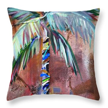 Golden Jasper Palm Throw Pillow