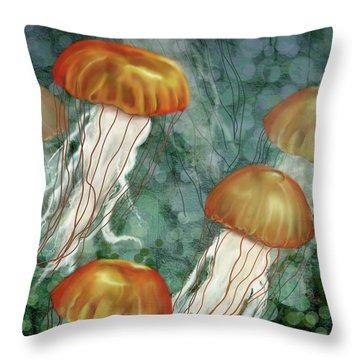 Golden Jellyfish In Green Sea Throw Pillow