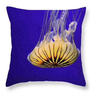 Golden Jellyfish Throw Pillow
