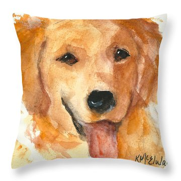 Golden Retriever Watercolor Painting By Kmcelwaine Throw Pillow