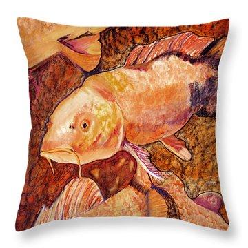 Golden Koi Throw Pillow by Pat Saunders-White