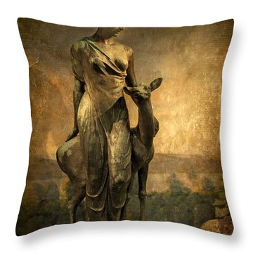 Golden Lady Throw Pillow by Jessica Jenney
