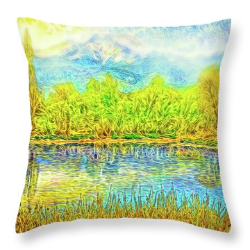 Golden Lake Reflections Throw Pillow by Joel Bruce Wallach