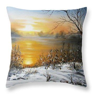 Golden Lake Sunrise  Throw Pillow