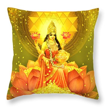 Golden Lakshmi Throw Pillow