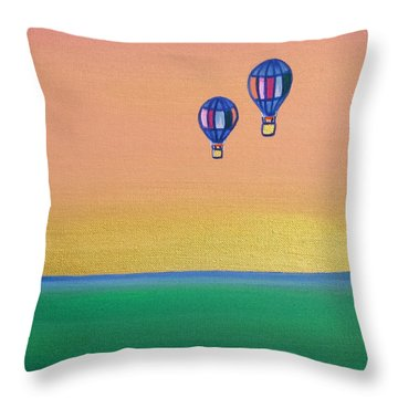 Golden Landscape And Balloons Throw Pillow by Beryllium Canvas