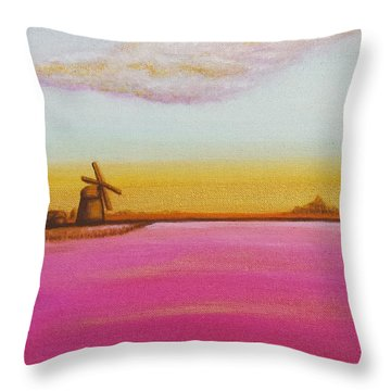 Golden Landscape With Windmill Throw Pillow by Beryllium Canvas
