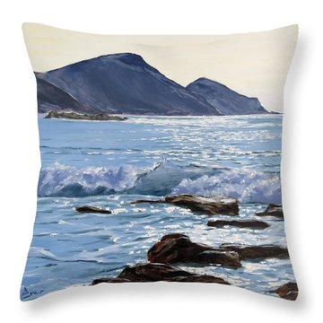 Throw Pillow featuring the painting Golden Light At Crackington Haven by Lawrence Dyer