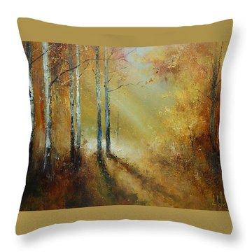 Golden Light In Autumn Woods Throw Pillow