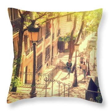 Golden Light In Montmartre, Paris Throw Pillow
