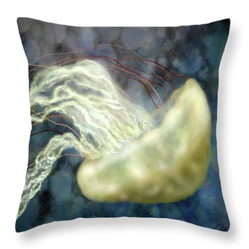 Golden Light Jellyfish Throw Pillow