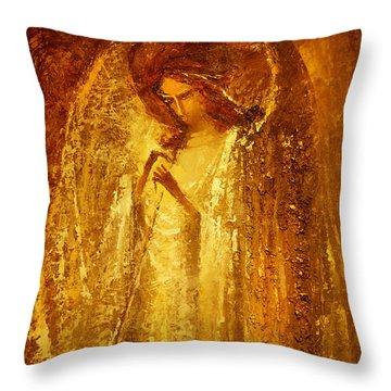 Golden Light Of Angel Throw Pillow