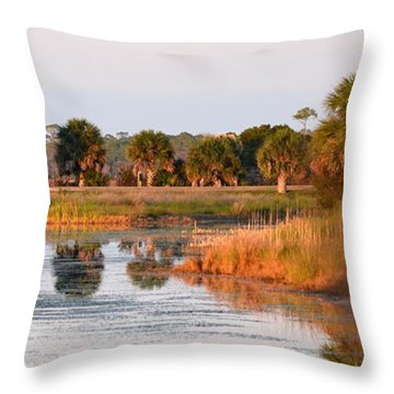 Golden Light On The St. Marks Marshes Throw Pillow