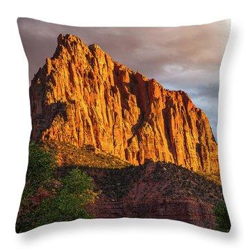 Golden Light On Watchman - Zion Throw Pillow