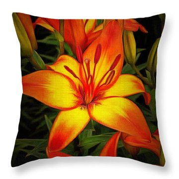 Golden Lilies Throw Pillow